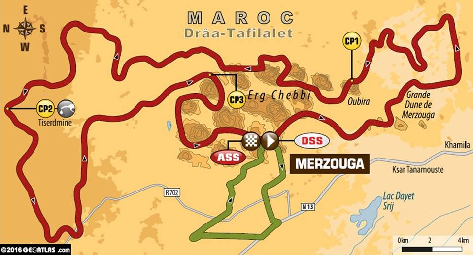 Stage 1 Afriquia map Merzouga Dakar Rally Series 2016